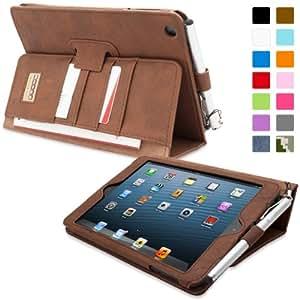 iPad Mini & iPad Mini 2 Case, Snugg™ - Executive Smart Cover With Card Slots & Lifetime Guarantee (Distressed Brown Leather) for Apple iPad Mini & iPad Mini 2