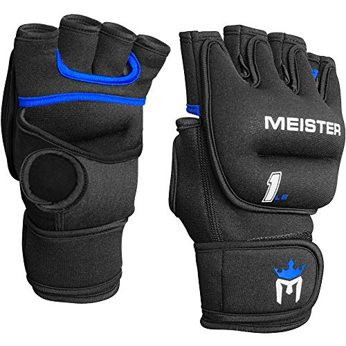 Meister Elite 1lb Neoprene Weighted Gloves for Cardio & Heavy Hands (Pair) - 1lb x 2 - Black/Blue