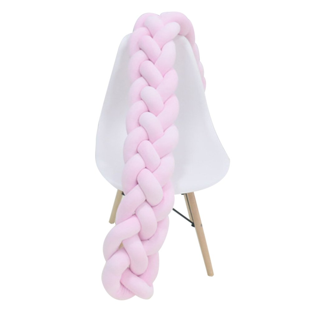 Tour de lit Ocama en peluche tressée - Pour berceau de bébé - Coussin de sommeil et décoration pour nouveau-né, rose, 2 meters