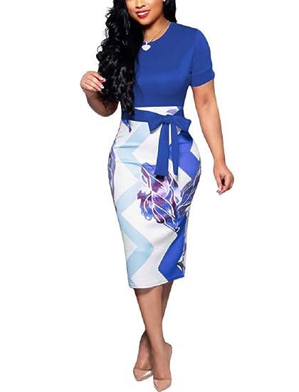 e3c9b1b629e97 Women's Short Sleeve Bodycon Dress - Cute Floral Bowknot Pencil Midi Dress