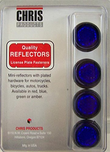 Chris Products CH4B Blue Motorcycle Mini License Plate Reflector, 4 Pack