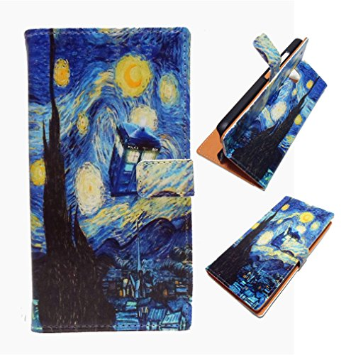 G4 Case, LG G4 Wallet CASE - Tardis Blue Police Call Box Vincent van Gogh Starry Nigh Pattern Slim Wallet Card Flip Stand PU Leather Pouch Case Cover For LG G4 - Cool as Great (Blue Call)