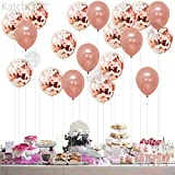 Rose Gold Confetti Balloons Decorations – 18 Inch - Pack of 20 | Great for Bridal Shower Decorations, Birthday Party | Bridal Shower Balloons | Pre-filled Rose Gold Confetti Metallic Latex Balloons