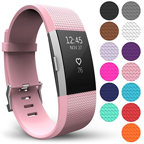 Yousave AccessoriesforFitbit Charge 2 Bands,Replacement Silicone Sport Wristband for The Fitbit Charge 2 - Available in 15 Colours (Large, Blush Pink)
