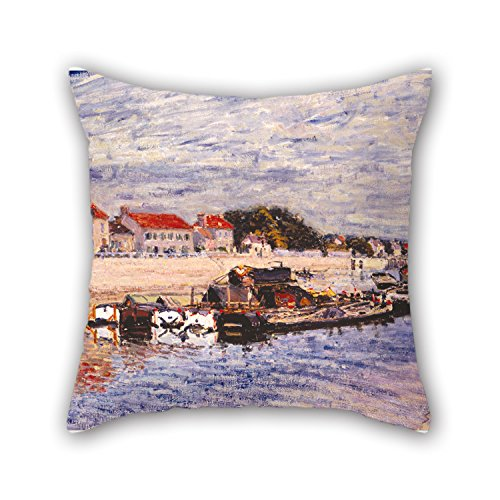 Loveloveu 16 X 16 Inches / 40 By 40 Cm Oil Painting Alfred Sisley - Barges On The Loing At Saint-Mammès Cushion Covers,two Sides Is Fit For Boys,kids,car,teens Boys,kids Room,deck Chair - Alfred Sisley Painting
