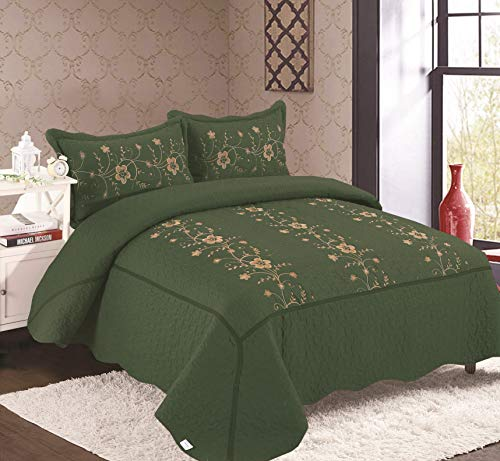 Golden Linens Over Size 3 Pieces Solid Color Embroidery Floral Design Quilt Bedspread Coverlet Set with Two Pillow Shams (Hunter Green, King/Calking)