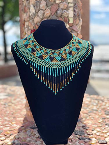 Amor Mio Beaded Collar Necklace Beautiful Pretty Elegant Beaded (Turquoise, Gold and Black with Fringe)