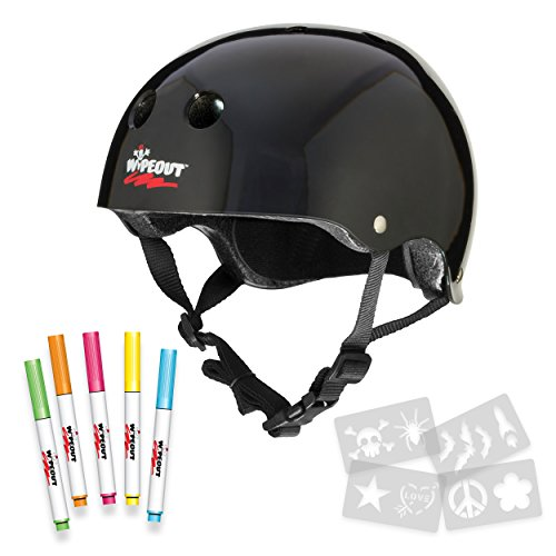 Wipeout Dry Erase Kids' Bike, Skate, and Scooter Helmet, Black, Ages 5+ Review