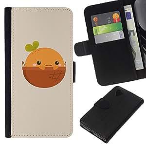All Phone Most Case / Oferta Especial Cáscara Funda de cuero Monedero Cubierta de proteccion Caso / Wallet Case for LG Nexus 5 D820 D821 // Cute Happy Orange