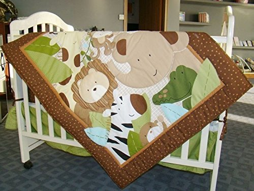 NAUGHTYBOSS Baby Bedding Set Cotton 3D Embroidery Monkeys Frolic Quilt Bumper Bedskirt Fitted Blanket Diaper Bag 9 Pieces Green by NAUGHTYBOSS