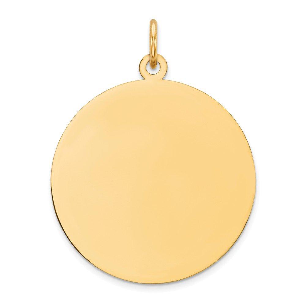 14k Yellow Gold Plain .011 Gauge Circular Engravable Disc Charm