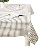 AIYUE Rural Cotton Linen Table Cloths Washable Rectangle Tea Table Cloth for Dinner Kitchen/Parties/ Picnic Home Decor (140220CM(55.186.6in), Geometric White Grid)