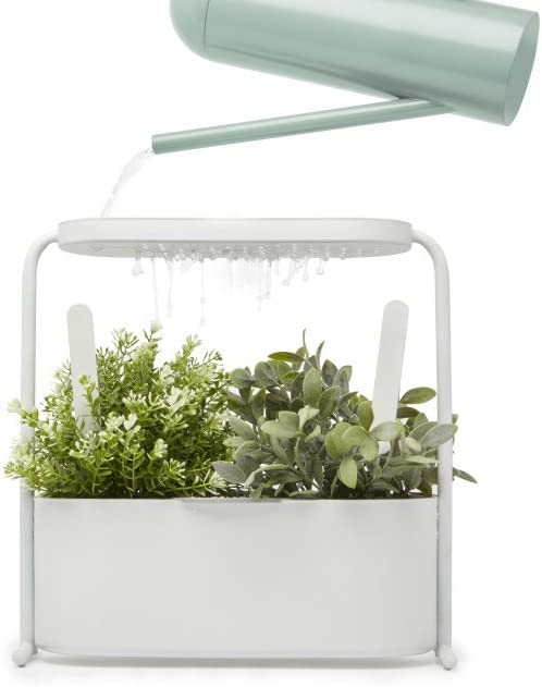 Umbra Giardino Indoor Herb Garden Set with Perforated Shelf and Tray for Water Fall and Drain System Planter, White
