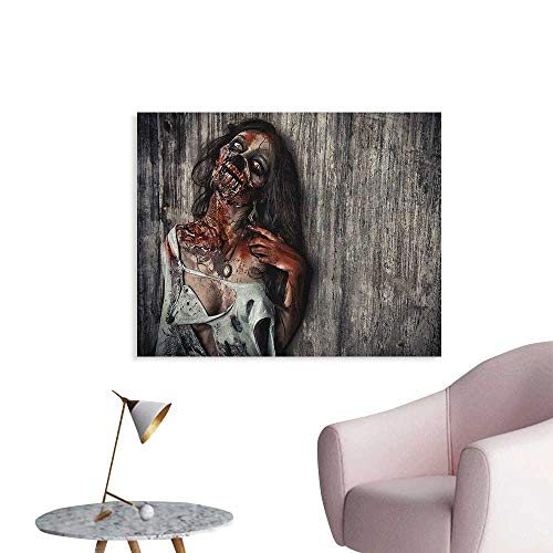 Anzhutwelve Zombie Wall Sticker Decals Angry Dead Woman Sacrifice Fantasy Design Mystic Night Halloween Image Funny Poster Dark Taupe Peach Red W48 -