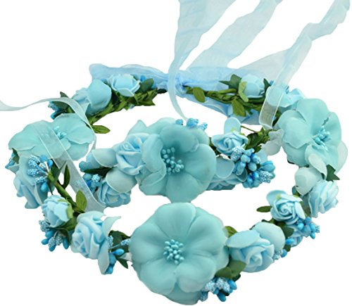 Vivivalue Flower Wreath Headband Floral Garland with Floral Wrist Band for Festival Wedding Blue