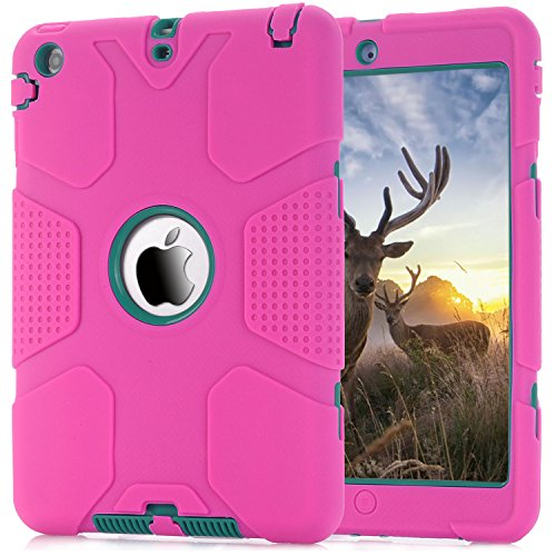 Mini 2/3 Case, Jenny shop 3in1 Hybrid Shockproof Hard Plastic with Soft Silicone Bumper Triple Layer Armor Full Body Protective Cover Case for iPad Mini 1/2/3 (Hot Pink + Teal) ()