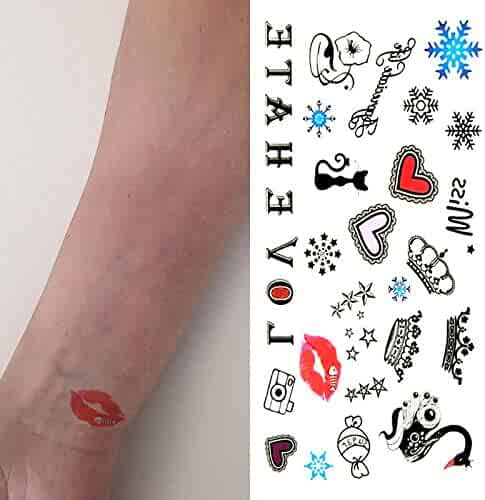 995d2e2f1 Oottati Small Cute Temporary Tattoo Crown Heart Cat Love Lip (2 Sheets)