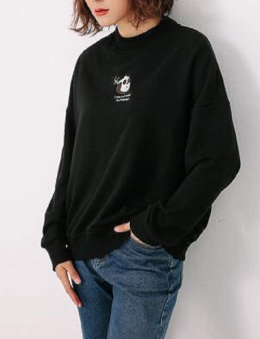 Etecredpow Women Batwing Sleeve Loose Pullover Pattern Print Sweatshirts