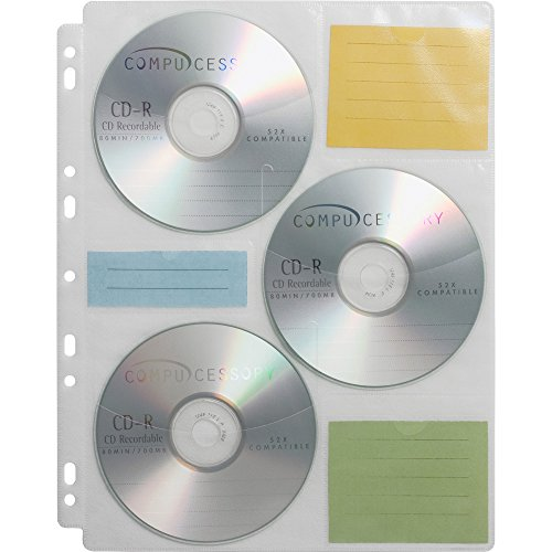 Compucessory 22297 CD Media Binder Storage Pages 25 Refill Pages/PK ()