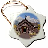 3dRose Wy, Grand Tetons, Chapel of The Transfiguration - Us51 Jwi0437 - Jamie and Judy Wild - Snowflake Ornament, Porcelain, 3-Inch (orn_97427_1)