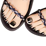 press on toenails - 24Pcs False Toe Nail for Women and Girls Glitter Decorated Full Cover Press On Fake Toenails with Glue