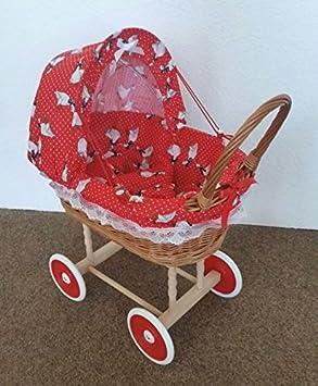Amazon.es: Cochecito de bebé de Mimbre 45 x 47 cm rojo a cuadros de mimbre cesta capazo muñecos de pastoreo se atreven con pato: Juguetes y juegos