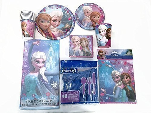 Disney Frozen Party Supplies Elsa and Anna. Serves 8 Guests Includes: Tablecover, Lunch and Dessert Plates, Cups, Napkins, Forks, Spoons, Knives and Gift Bags. BONUS: 1-16 ounce Plastic Cup