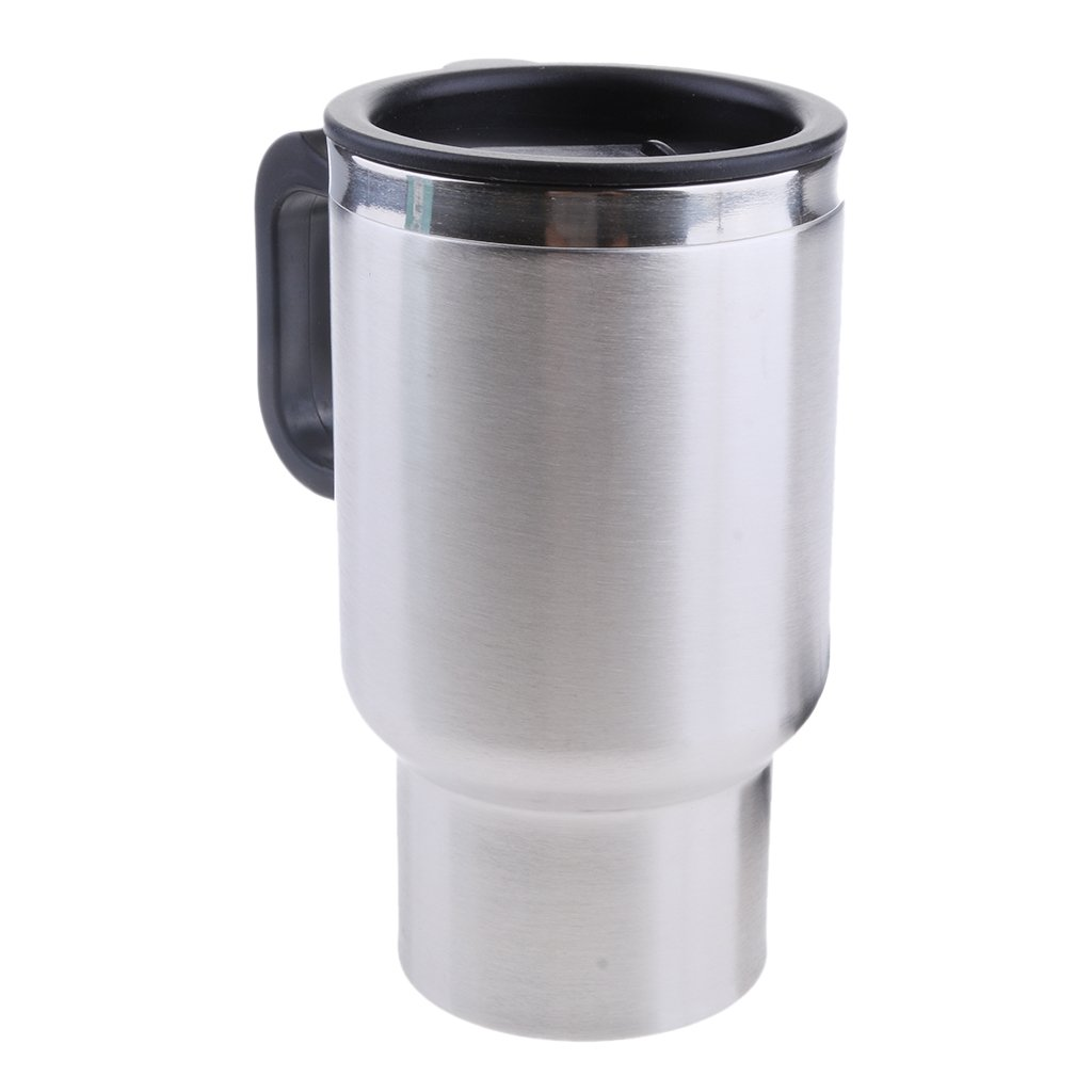 MagiDeal Car Electric Hot Cup Car Heated Mug Car 12V Heating Cup Car Insulation Cup Stainless Steel Coffee Mug Stainless Steel Travel Electric Cup