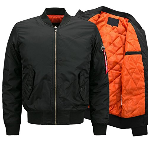 Yeokou Men's Casual Winter Warm Thick Puffer Quilted Short Bomber Jacket Coat (XX-Large, Style 12 Black)