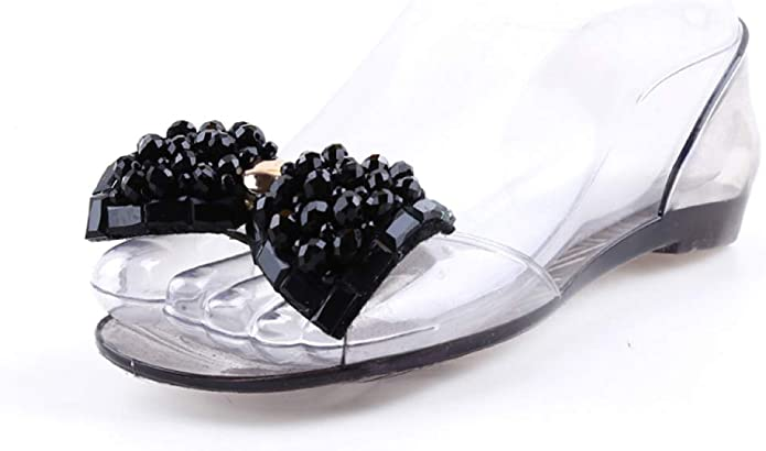 Details about  /Womens Open toe Sandals Straw Rope Rhinestones Mules Glitter Slippers Shoes INS