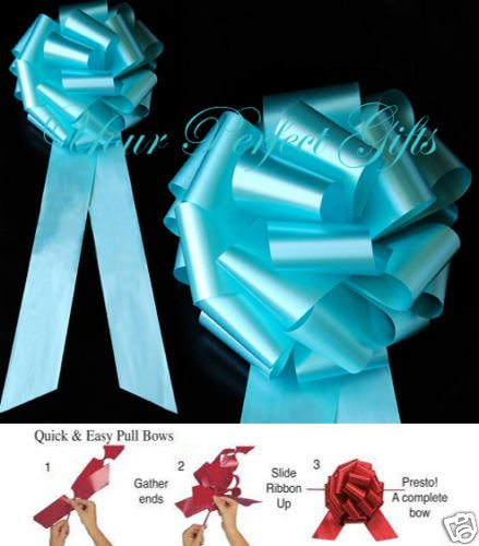 10 pcs TEAL BLUE 9'' WEDDING PULL PEW BOWS BRIDAL CHURCH CHAIR TABLE CENTERPIECE by your_perfect_gifts