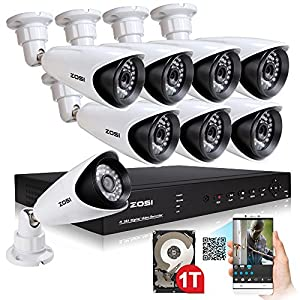 ZOSI Home CCTV Security Camera System 1TB Hard Drive 8CH 720p Network DVR With 8pcs 1200TVL Day Night 3.6mm Outdoor Surveillance Cameras from ZOSI