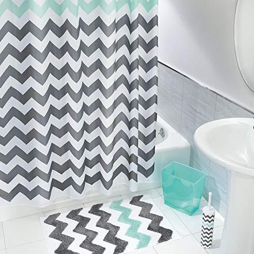 (mDesign Chevron Fabric Shower Curtain, Microfiber Accent Rug, Toilet Bowl Brush, Wastebasket Trash Can - Set of 4, Gray/Aruba Blue)