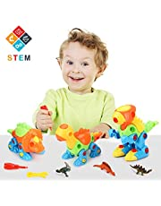 Fansteck Educational Dinosaur Toys, STEM Take Apart Toys for Kids, DIY Construction Puzzle Toy for Children 3 to 6 Years Old, Self Assembly Toy with 6 Tools, Building Toy for Boys Girls