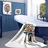 WolfgangDecor Tree of Life Customized bath towel combination Shaded Animals Moth Tree Colored Wings Flying New Life Theme Illustration Hope Home Fun Hand towels set Multi