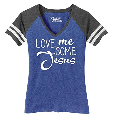 Ladies Game V-Neck Tee Love Me Some Jesus Heathered True Royal/Heathered Charcoal XL