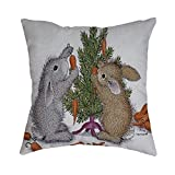 Pet1997 Happy Easter Linen Pillowcase, Festival Rabbit Pillow Case Cushion Cover, Easter Sofa Bed Home Decoration, Luxury Bedding,18 X18 Inch (B)