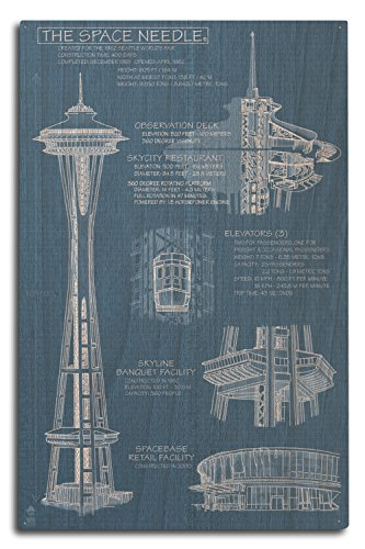 Lantern Press Seattle, Washington - Space Needle Technical Drawing (Blueprint) (10x15 Wood Wall Sign, Wall Decor Ready to Hang) -