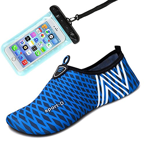 Womens and Mens Water Shoes Barefoot Quick-Dry Aqua Socks for Beach Swim Surf Yoga Exercise (Blue/Stripe), M(W:7.5-8.5/M:6-7) from Auken