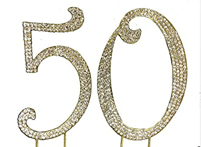 Charming Collections 50th Birthday/Wedding Anniversary Number Cake Topper with Sparkling Rhinestone Crystals, Large, Gold