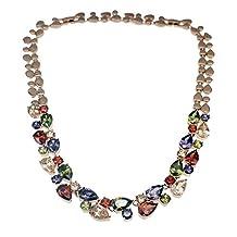 Hermosa 925 Sterling Silver Rose Gold Plated Multi Gemstones Sets Garnet Peridot Amethyst Morganite