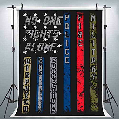 No One Fights Alone Backdrop for Party Photography, 6x9FT, Proud Job US Flag Thin Line Military Police Nurse Background, Photo Booth Studio Props LYLU1069