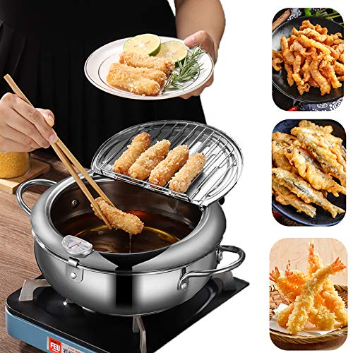 Tempura Frying Pot, Japanese Style 304 Stainless Steel Deep Fryer Pan With Thermometer,Lid And Oil Drip Drainer Rack for Turkey Legs, Chicken Wings, French Frise (24cm/9.4inch)