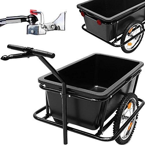 Fahrradanhänger mit 90 Liter Kunststoffwanne inkl. Kupplung - Lastenanhänger Transportanhänger Anhänger Handwagen