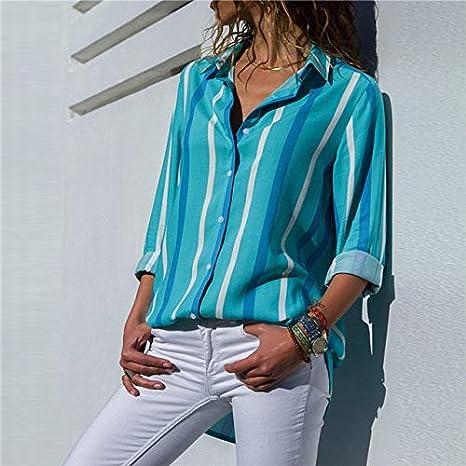 SETGVFG Blusas De Mujer Moda Manga Larga Cuello Vuelto Camisa De Oficina Blusa De Ocio Camisa Casual Tops Tallas Grandes Blusas Femininas M Azul Cielo: Amazon.es: Deportes y aire libre