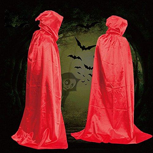 Rouge Fête Soirée Unisexe Millenniums Toussaint Party Cape Cosplay Avec Costume Vampire Sorcier Longue Sorcière Robe De Pour Casual Capuche Halloween 4cALq3Rj5