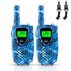 FAYOGOO Walkie Talkies for Kids, 22-Channel FRS/GMRS Radio, 4-Mile Range Two Way Radios for Kids with Flashlight and LCD Screen, and Toys for 3-12 Year Old Boys and Girls (Camo Blue)