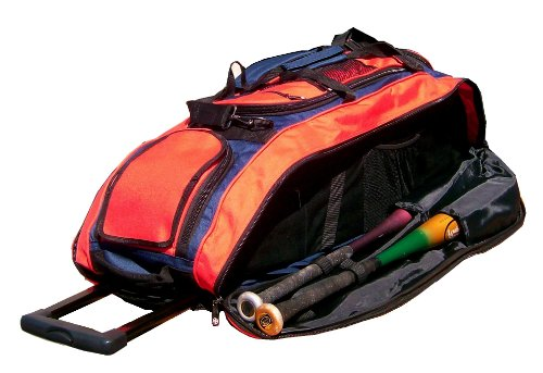 Navy Blue and Orange Cobra RTS Softball Baseball Bat Equipment Roller Bag by MAXOPS