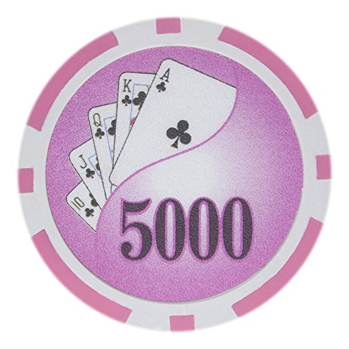 Brybelly Yin Yang Poker Chip Heavyweight 14-Gram Clay Composite - Pack of 50 ($5000 Pink)