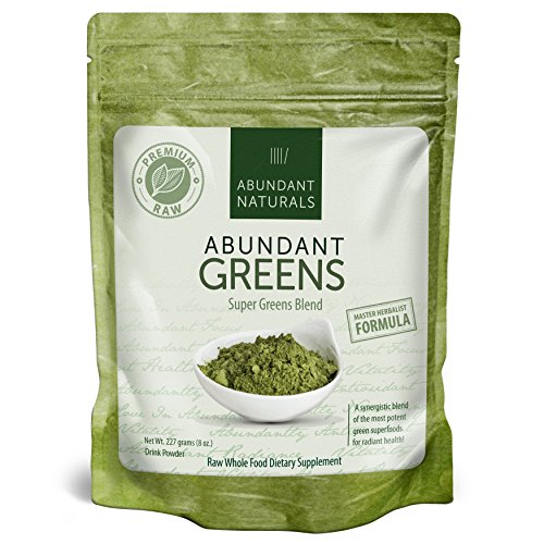 (Organic Super Greens Powder | Raw Green Smoothie Superfood Drink Mix - Boost Energy & Vitality, Abundant Vitamins, Minerals, Antioxidants, Pleasant Taste, Non-GMO, Vegan Supplement, 38 Servings)